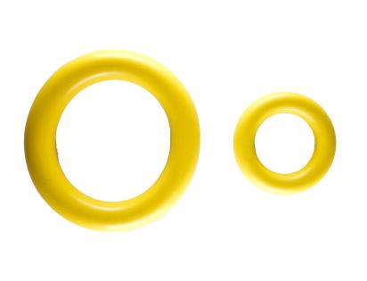 Speelgoed hond rubber ring geel