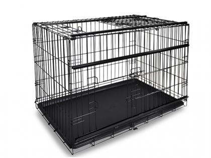 Cage métallique pliable premium noir 122x76x84cm