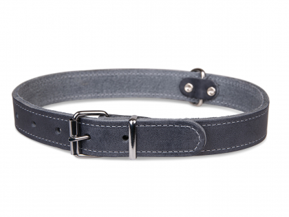 Collar oiled leather grey 47cmx18mm M-L