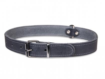 Collier cuir huilé gris 47cmx18mm M-L
