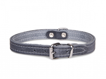Collier cuir huilé gris 37cmx14mm S
