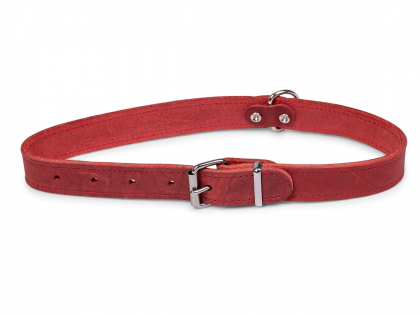 Collar oiled leather red 52cmx22mm L