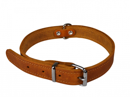 Collar oiled leather cognac 52cmx22mm L