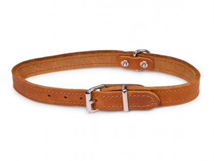 Collar oiled leather cognac 47cmx18mm M-L