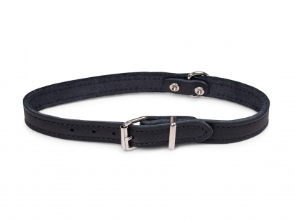 Collar oiled leather black  47cmx18mm M-L