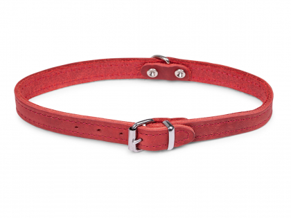 Collar oiled leather red 42cmx16mm M