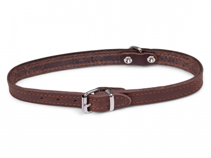 Collar oiled leather brown 42cmx16mm M