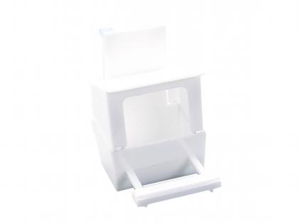 Eetbak plastiek wit met zitstok