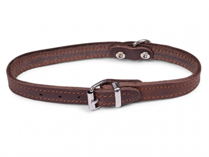 Collar oiled leather brown 37cmx14mm S