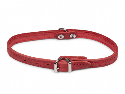 Collar oiled leather red 32cmx12mm XS