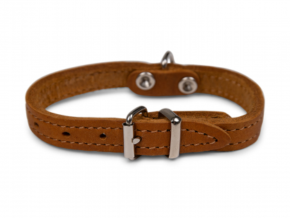 Collar oiled leather cognac 27cmx12mm XXS