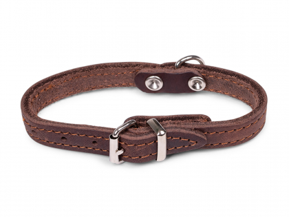 Collar oiled leather brown 27cmx12mm XXS