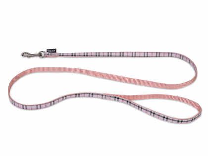 Leash dog nylon Tartan pink 120cmx10mm S