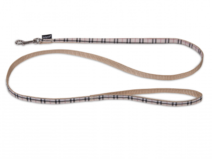 Leash dog nylon Tartan beige 120cmx10mm S