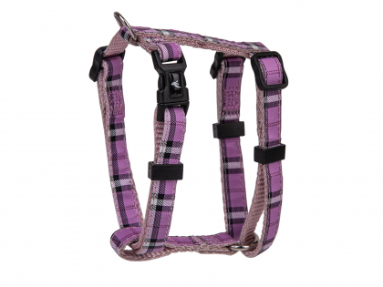 Harness dog nylon Tartan purple 20-35cmx10mm XS