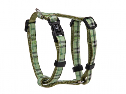 Harness dog nylon Tartan green 20-35cmx10mm