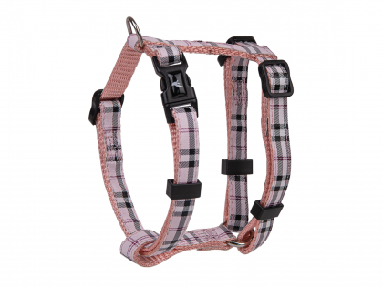 Harness dog nylon Tartan pink 20-35cmx10mm