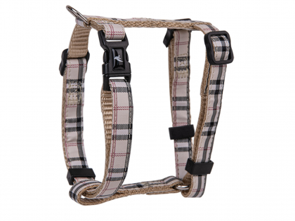 Harness dog nylon Tartan beige 20-35cmx10mm