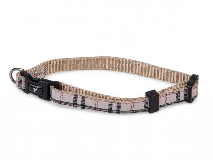 Collar dog nylon Tartan beige 20-35cmx10mm S
