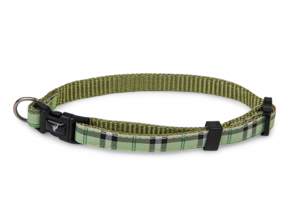 Collar dog nylon Tartan green 13-20cmx10mm XS