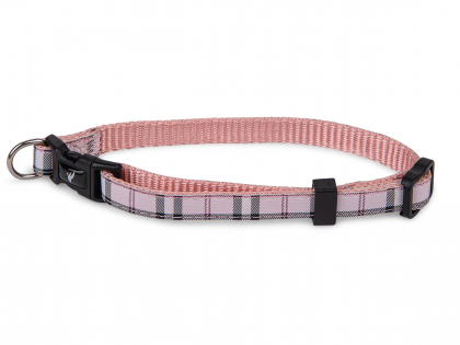 Collar dog nylon Tartan pink 13-20cmx10mm XS