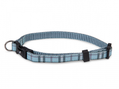 Collar dog nylon Tartan blue 13-20cmx10mm XS