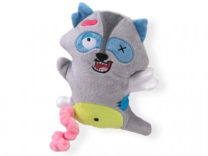 Jouet chien Scary raton-laveur avec os 17,5cm