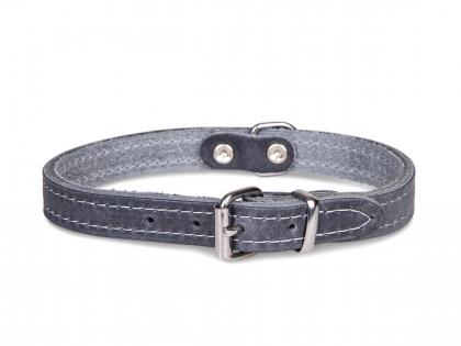 Collier cuir huilé gris 32cmx12mm XS