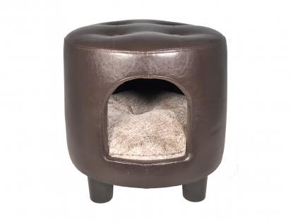 Pouffe imitation leather Gwen