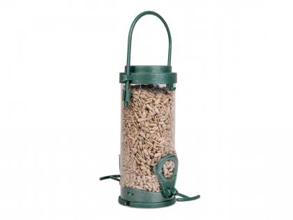 Recycled feeder with sunflower kernels