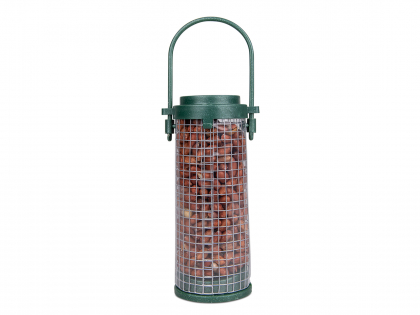 Recycled feeder with peeled peanuts