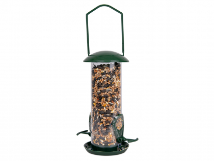 Recycled feeder with seed mix