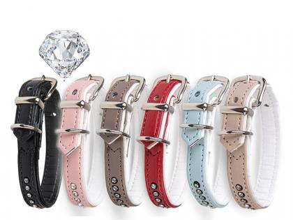 Collar imitation leather one row Crystal