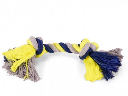 Katoen koord 2 knopen blauw-geel