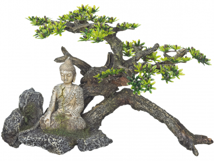 Aqua Deco Buddha with plant