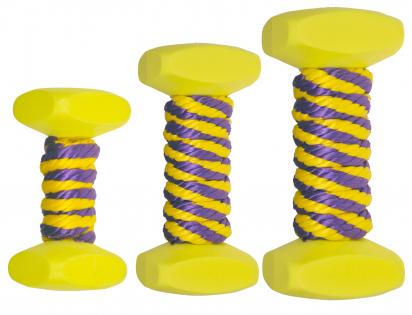 Nylon dumbbells & rope yellow/purple