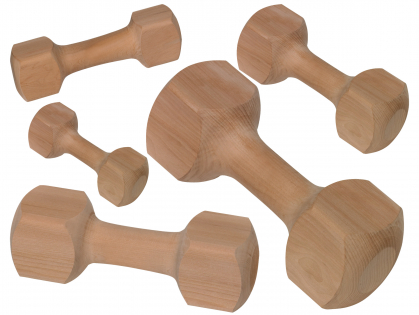 Wood fetching dumbbell